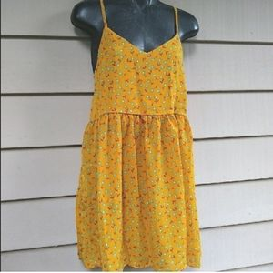 MUSTARD YELLOW DRESS FLORAL COTTAGE CORE